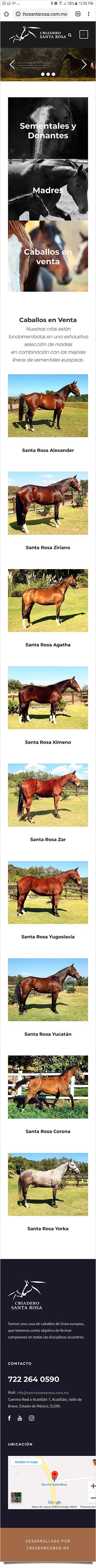 Criadero Rancho Santa Rosa - Diseño y Desarrollo de Tienda en Línea - CreadoresWeb.mx