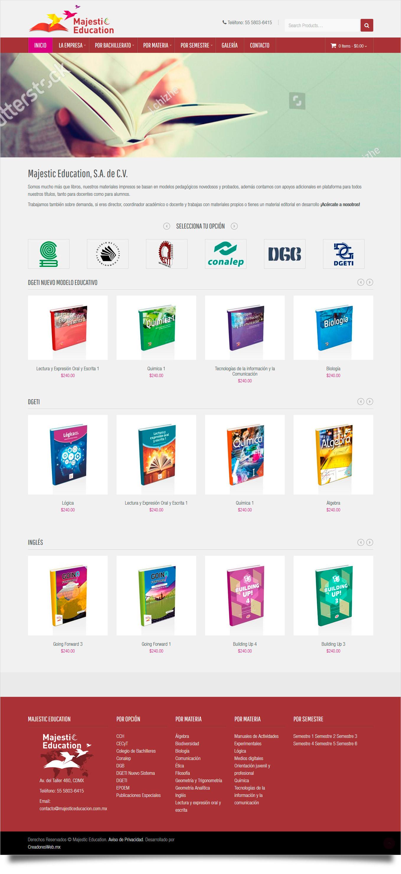 Majestic Education - Diseño y Desarrollo de Tienda en Línea - CreadoresWeb.mx