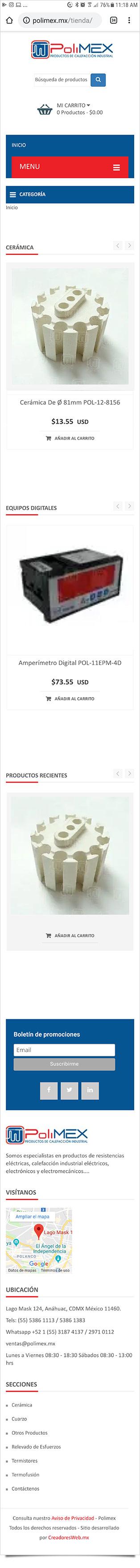 Polimex Tienda en línea - Diseño de Páginas Web - CreadoresWeb.mx
