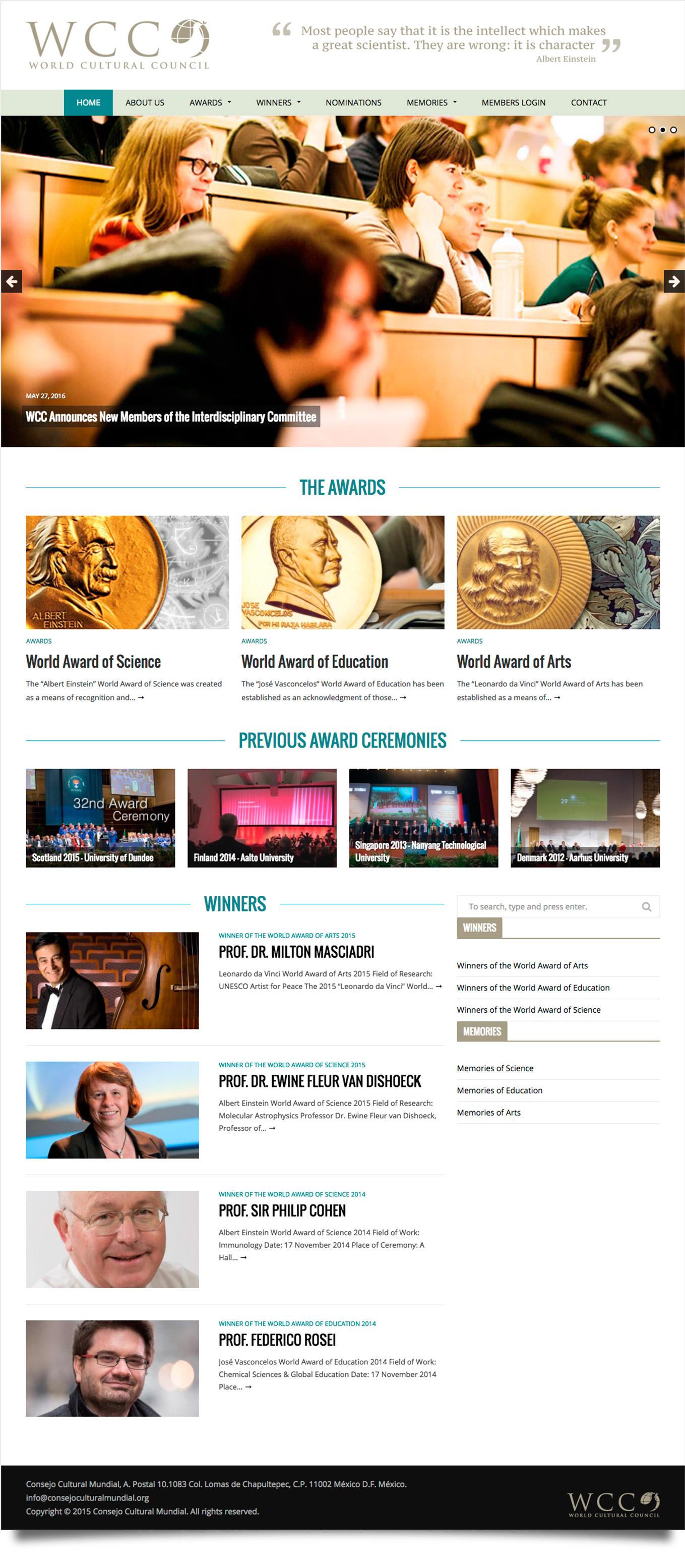 World Cultural Council - Diseño de Página Web - CreadoresWeb.mx